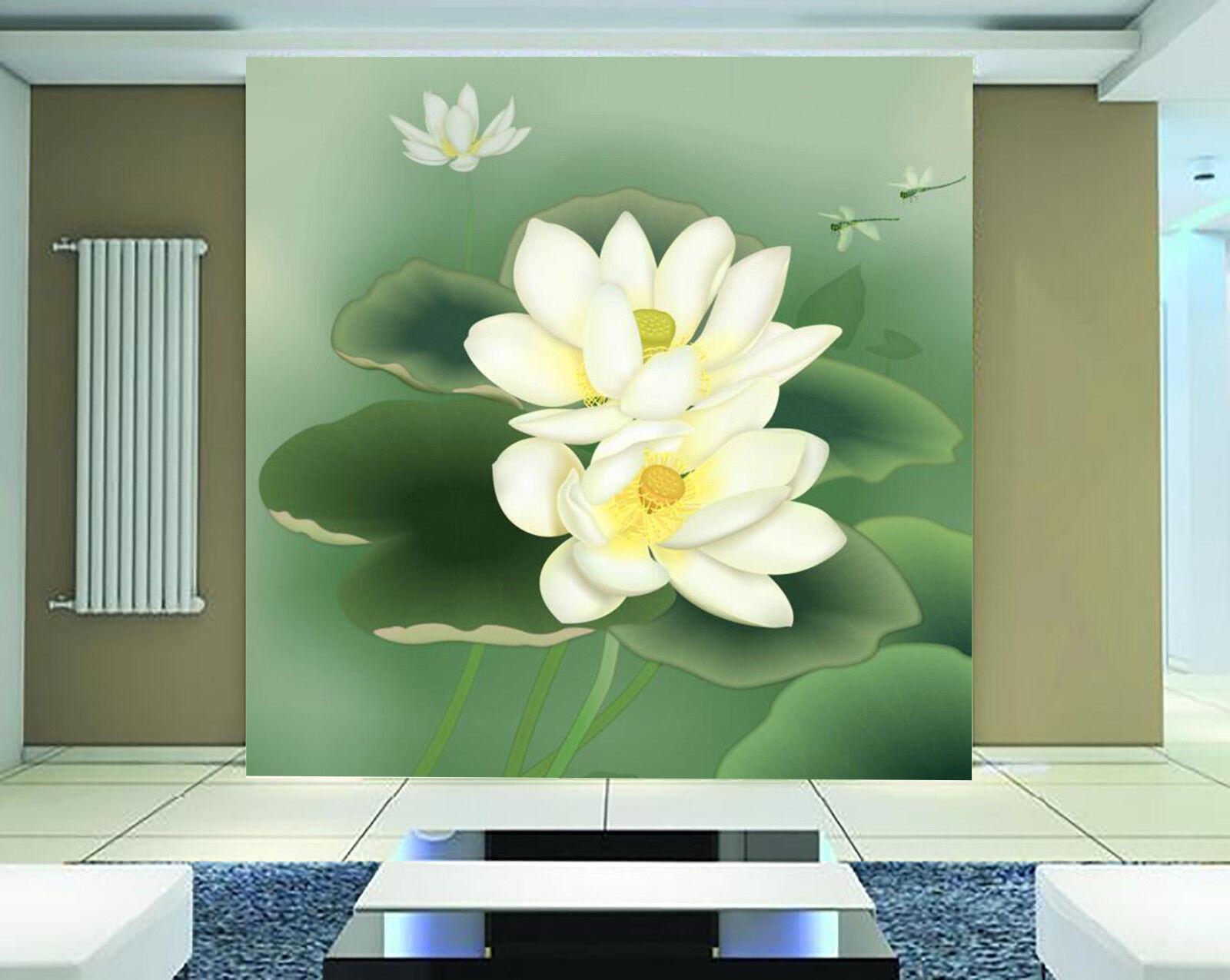 3D Weiß Water Lily 75 Wall Paper Murals Wall Print Wall Wallpaper Mural AU Kyra
