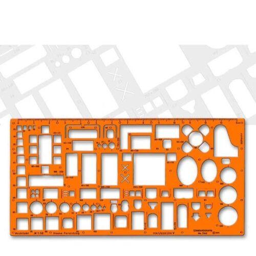 orange Möbelschablone 1:50 Standardgraph 7343 transparenter Kunststoff