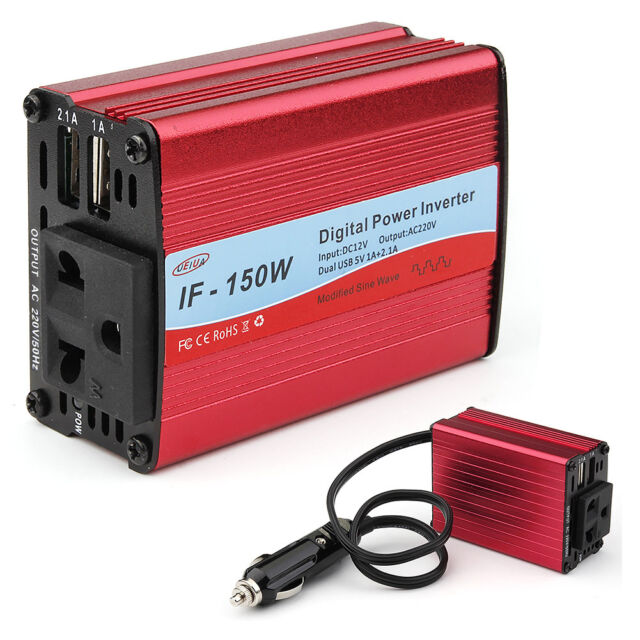 Digital Car Power Converter Inverter DC 12V to AC 220V 150W Charger Adapter UP