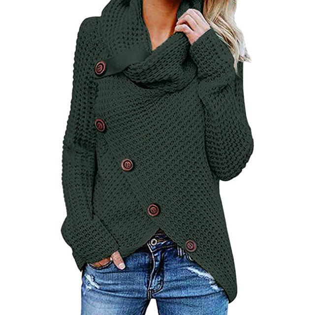 Women's Chunky Button Turtle Cowl Neck Asymmetric Hem Wrap Pullover Knit Sweater