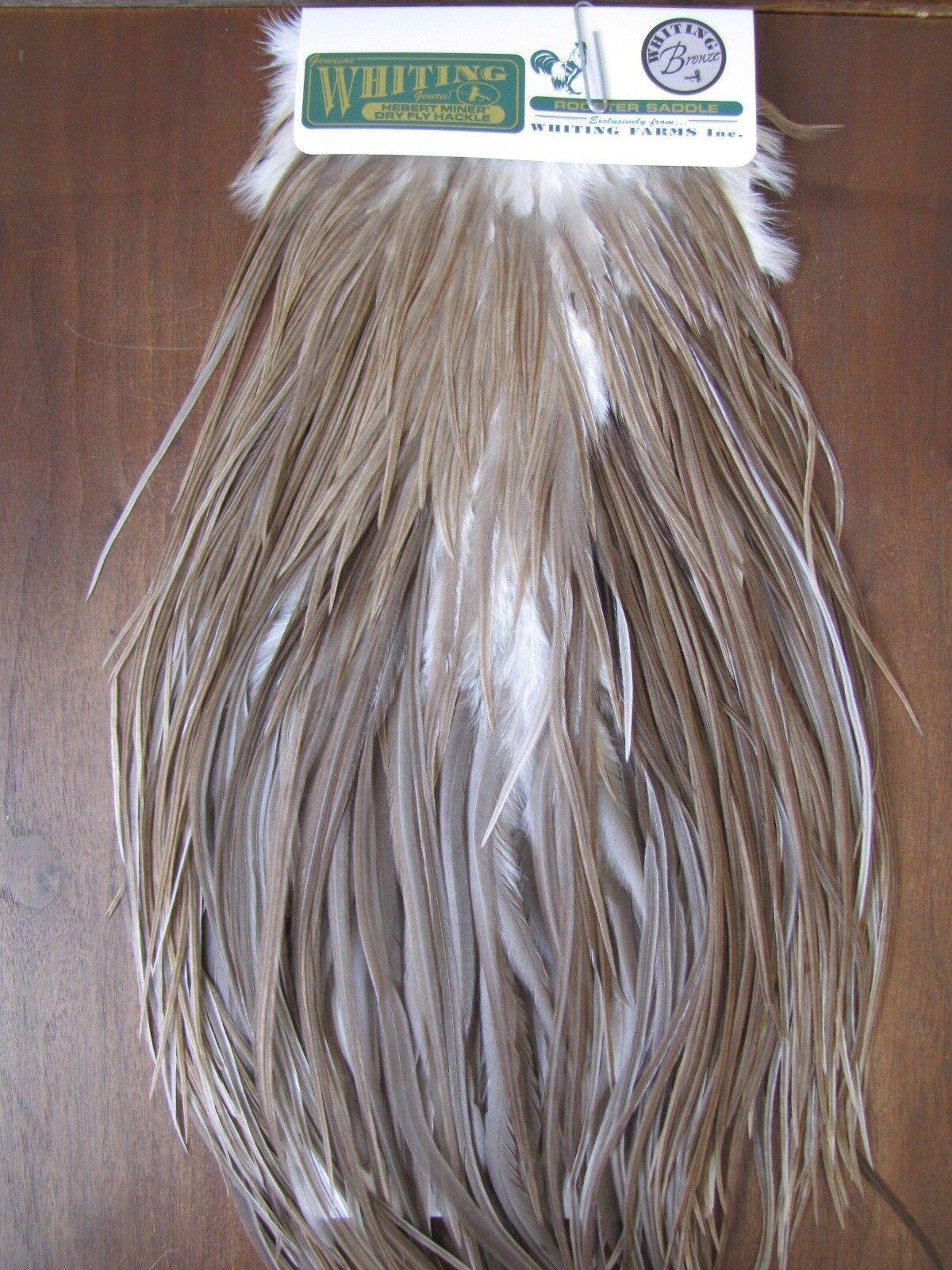 Fly Tying Whiting H M Bronze Rooster Saddle Medium grau Dun  C