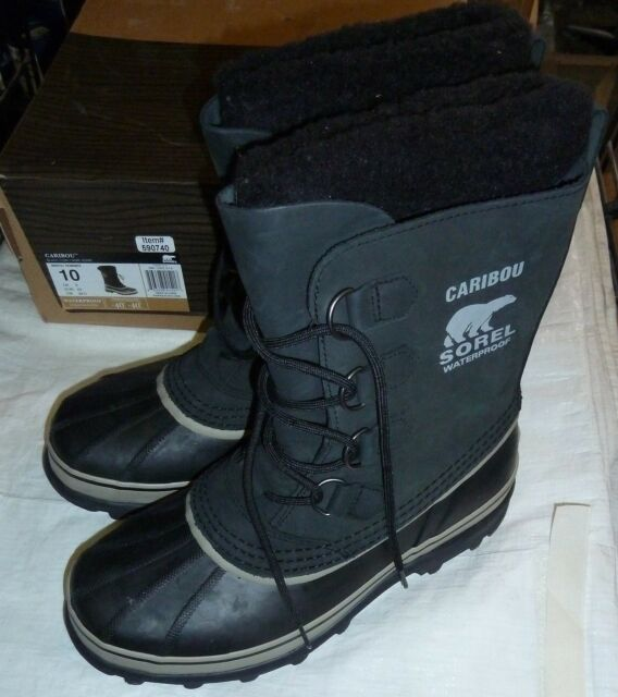 f8b4d3c188948 Sorel Caribou Mens Waterproof Snow Winter BOOTS Black / Tusk Nm1000 ...
