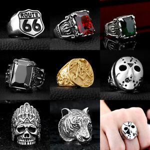 3b07ffef656 Punk Rings 316L Stainless Steel Steam Cool Skull Men s Band Rock ...