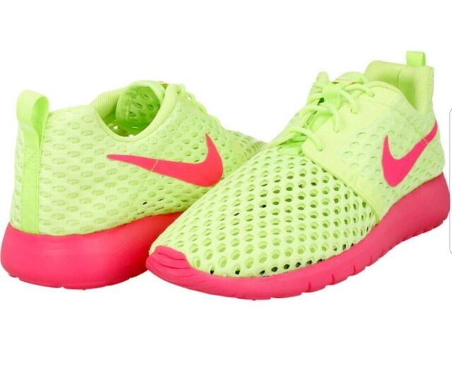 Nike Roshe One Flight Weight GS Green Pink Kids Running Sneakers 705486 300 5Y