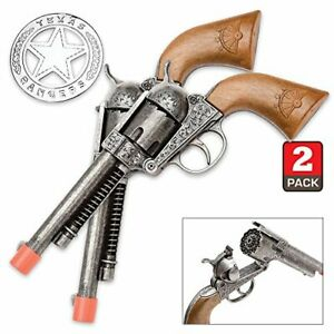 Toy-Cap-Gun-Texas-Ranger-Double-Holster-12-Shot-Die-Cast-Wild-West-Parris-Mfg