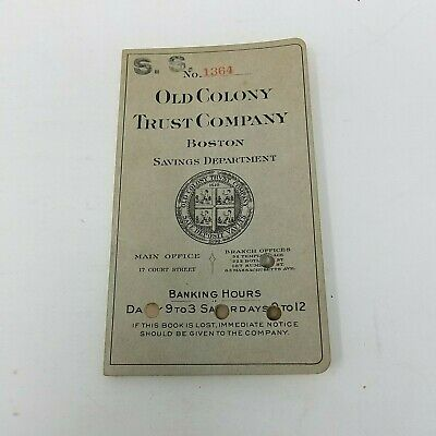 Other Banking & Insurance Historical Memorabilia Collection Here 1928 Old Colony Trust Company Boston Bank Register Receipt Deposit Pass Book 5in