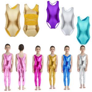 UK Kids Girls Metallic Leotards Ballet Gymnastics Dance Bodysuit Solid Dancewear