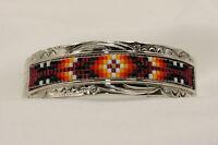 Signed Navajo Indian Made Silver & Beaded Bracelet