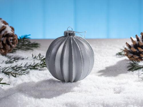 Boule de Noël Lena gris arbre de Noël boules argent paillettes sapin boule