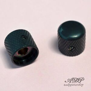 2x-Boutons-Metal-Tele-Dome-Knobs-19x19mm-SolidShaft-Pots-6-35mm1-4-034-BigGrip-Black