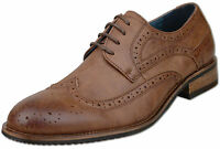 Mens New Brown Leather Lined Lace Up Brogue Fashion Shoes Size 6 7 8 9 10 11 12