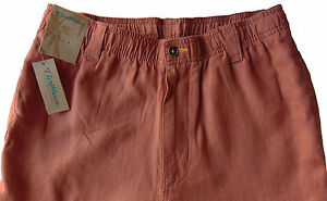 Men's CARIBBEAN Muted Red LINEN Drawstring Pants 42x32 NEW NWT Cargo AWESOME!