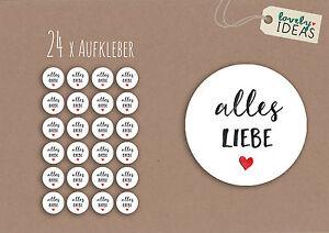 24-x-Geschenkaufkleber-034-Alles-Liebe-034-40mm-rund-weiss-Etiketten-Aufkleber-Sticker