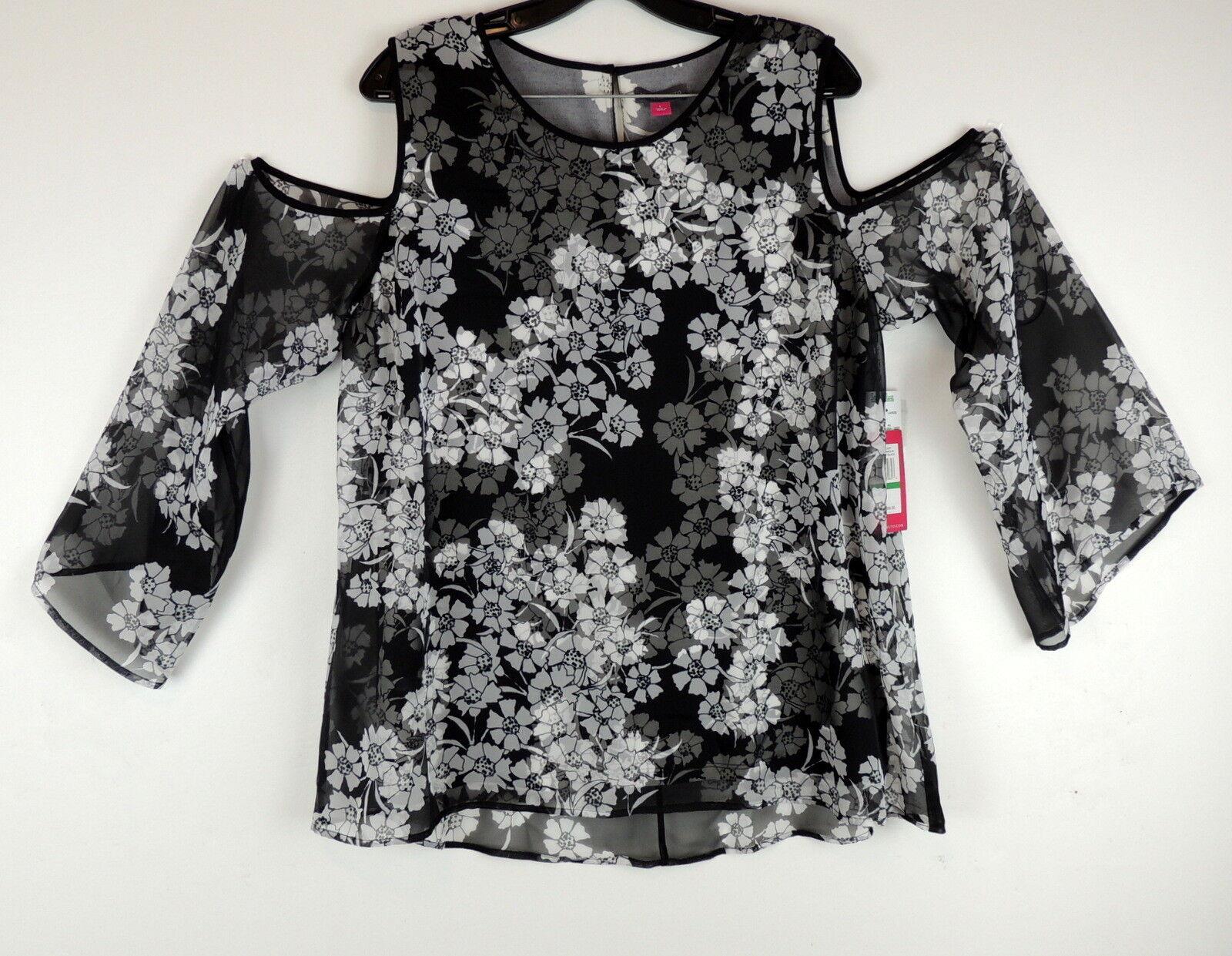 Vince Camuto L Blouse Romantic Glamour A Line Floral Cold Shoulder NEW  99