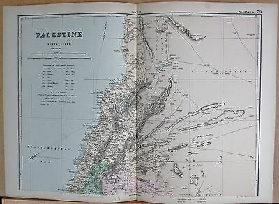 Palestine North Orders Are Welcome. Antiques 1890 Large Victorian Map