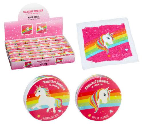 1x Magisches Handtuch EINHORN sortiert Minihandtuch pink Unicorn Tuch 30x30cm
