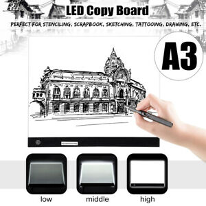 A3-LED-Table-A-Dessin-Planche-Tablette-Pochoir-Copie-Lumineuse-Dimmable-3-Niveau