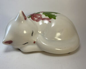 """Vintage NS GUSTIN CO. Hand Painted 6"""" Ceramic Sleeping Cat Figurine Made In USA"""