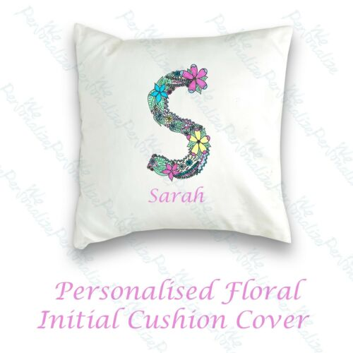Personalised Gift floral initial alphabet letter mug bag cushion  gift for her