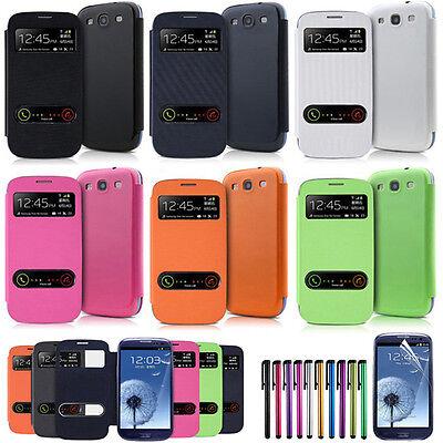 Flip PU Leather Case +Film +Stylus Window Case Cover For Samsung Galaxy S3 i9300