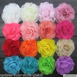 HAARBLUME  Chiffon  24 Farben Ansteckblume Haarblüte- Krokodilspange -Stoffblume