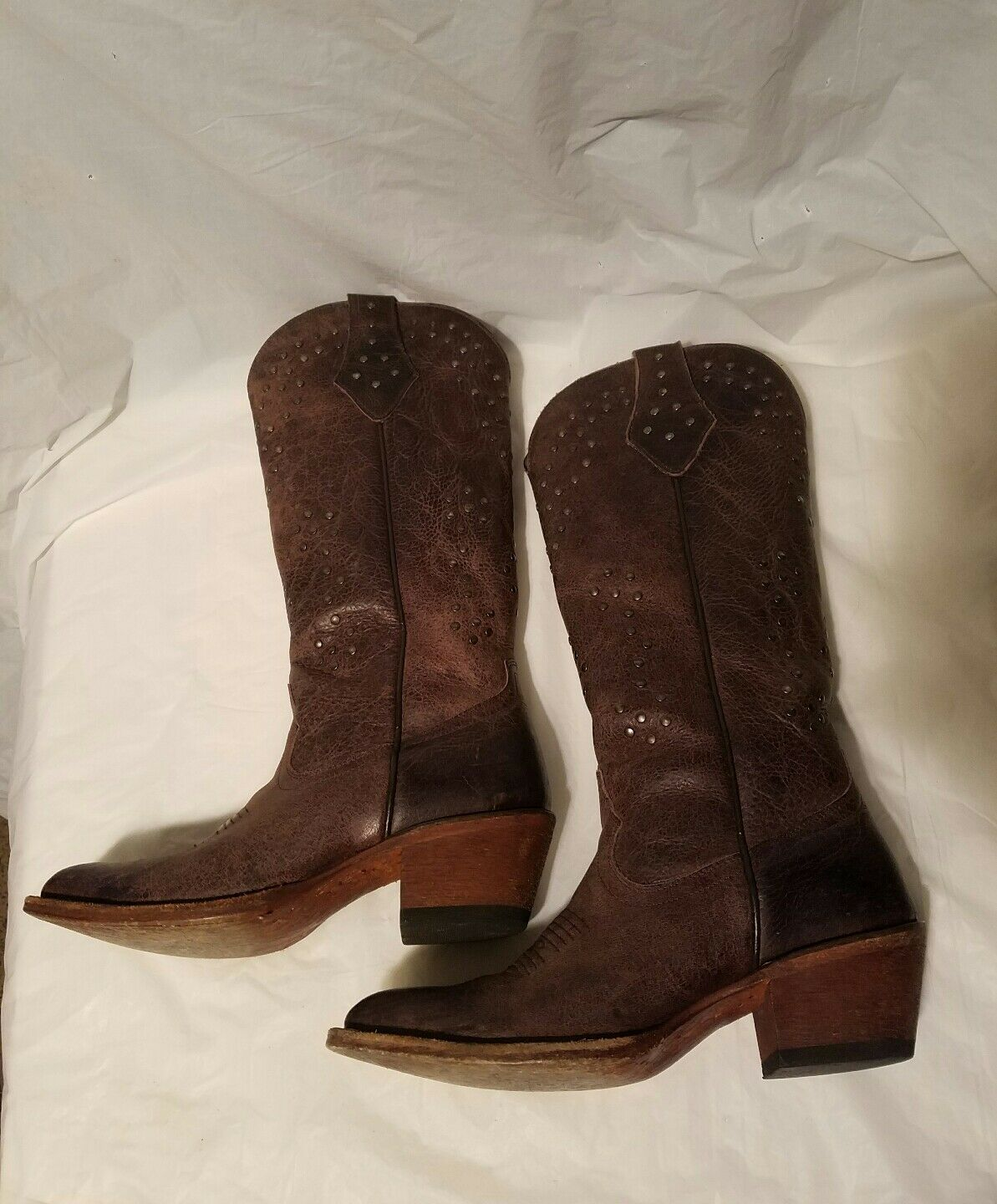 Womens Shyanne Almond Toe Studded boots size 6.5 brown 2.25 2.25 2.25 inch heel 8447bb