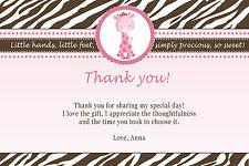 30 Personalized Baby Girl Shower Pink Giraffe Thank You Card Birthday Zebra A1