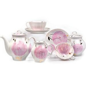 Porcelain-Tea-set-w-Pink-Floral-Spring-Pattern-by-Dulevo-Russia-6-15