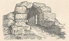 A6454 Le mura ciclopiche di Tirinto - Stampa Antica del 1930 - Incisione