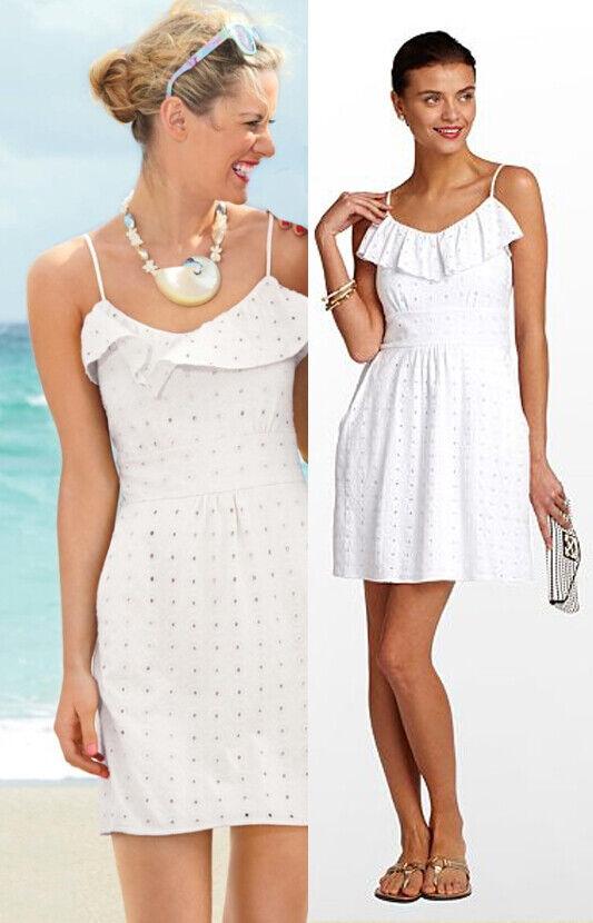 Lilly Pulitzer Carreen Resort Weiß Sweet As Sugar Eyelet Jersey Knit Dress