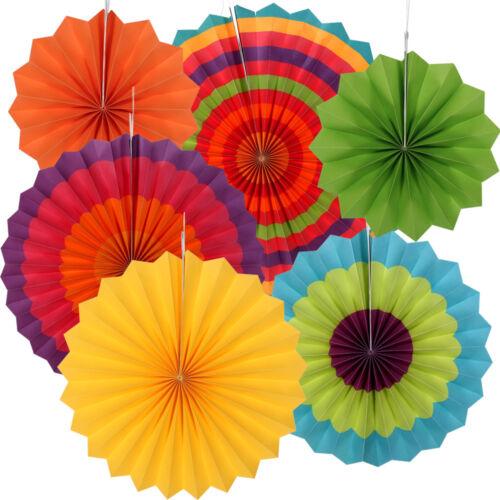 6x Multicoloured Party Paper Fans Christening Wedding Hawaiian Ceiling Decor