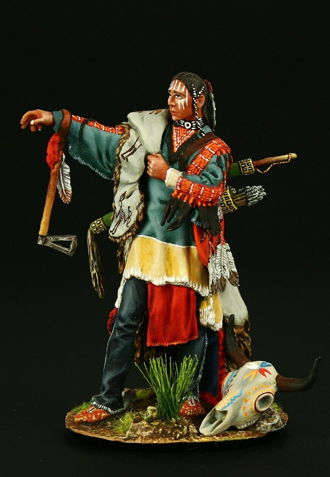 ELITE TIN SOLDIER    Noble Sioux Warrior 75 mm, metal sculpture. 8c3
