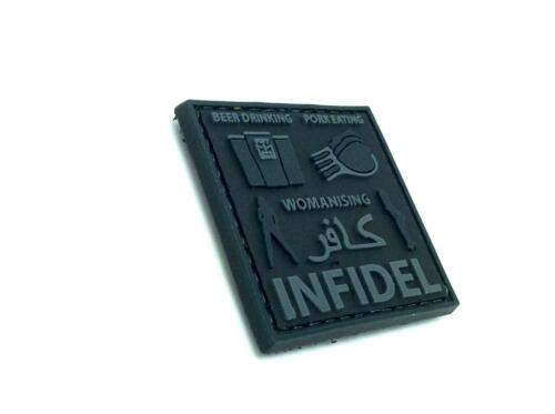 Beer Drinking Womanising Pork Eating Infidel Airsoft PVC Patch Black