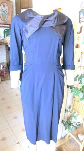 50s LESLIE FAY ORIGINAL NAVY BLUE RAYON FITTED DRE
