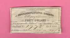 $40 Dollars CSA from 1861 $1000 Confederate Bond Currency Coupon Money Note Bill