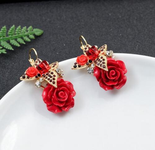 Betsey Johnson cute alloy Red Roses Rhinestone Earrings Jewelry  BJ  Fashion