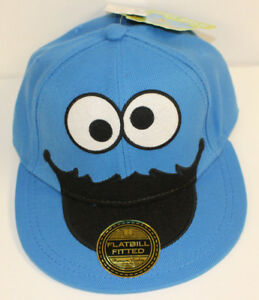 9391268c Details about NEW BLUE Kids Cookie Monster Hat Sesame Street Small Medium  Fitted FlatBill NWT