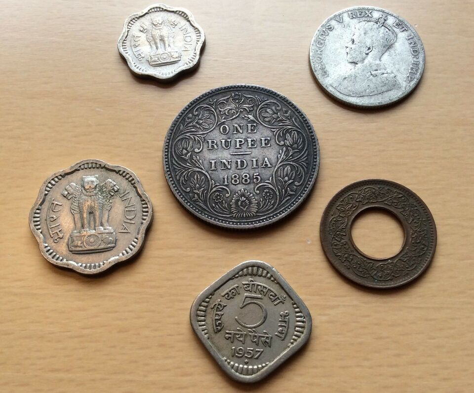 Asien, mønter, One rupee India