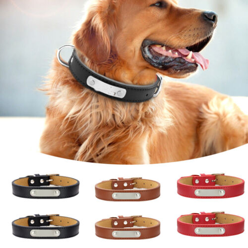 Dog Collars Leather Pet ID Collar Name Engraved Chain Necklace Dogs Size S M L