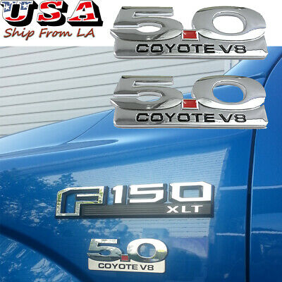 New 2pcs Matte Black 5.0 Coyote V8 Emblem for F150 Fx4 Mustang GT,Metal Door Fender Side Badge Decal Replacement for Ford Mustang.