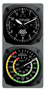 Trintec Aircraft Altimeter Clock/Airspeed Thermometer Wall Combo - 9060/9061