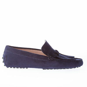 05bfe921901 TOD S women shoes Dark blue suede gommini driver loafer with origami ...