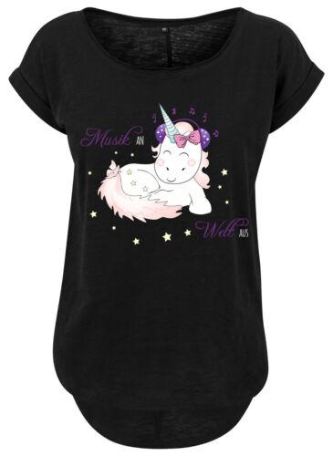 Damen Long Slub Tee T-Shirt Pocket Unicorn Einhorn cutie Music Musik an Welt aus