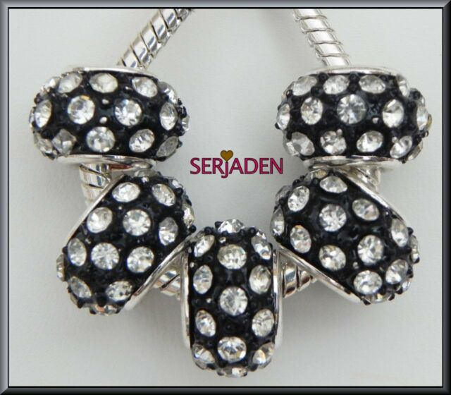 5 Black w/ Clear Crystals Bead Charms 9x14 & 5 mm hole Fits European Styles R074