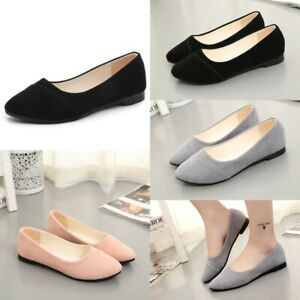 US Women Ladies Flat Slip On Shoes Moccasin Suede Pumps Casual Loafers Trainers