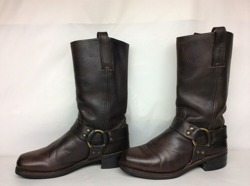 MENS FRYE SQUARE TOE HARNESS MOTORCYCLE LEATHER BROWN BOOTS SIZE 8.5 M