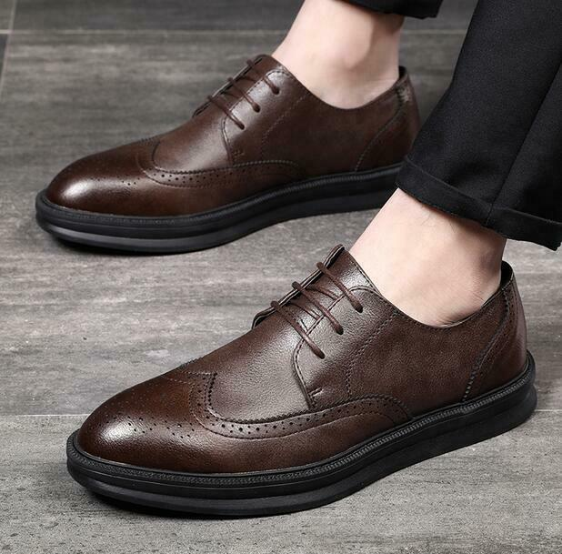 Mens Business Lace Up Flat Brogues Formal Dress Faux Leather Casual Wingtip shoes