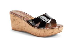 1ac89af19133 Sam Edelman Women s Black Brown Patent Leather Reid Wedge Sandals ...