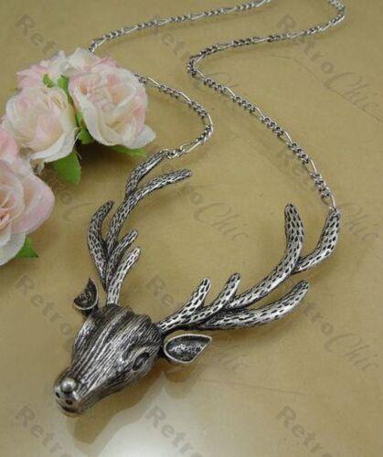 HUGE STAG HEAD antler BIG NECKLACE antique silver plated GOTH PUNK deer antlers