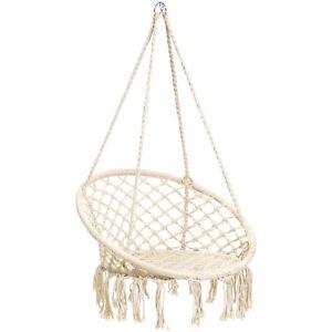 BCP-Handwoven-Cotton-Macrame-Hammock-Hanging-Chair-Swing-w-Backrest